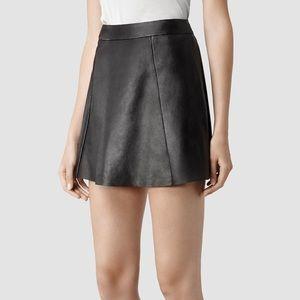 AllSaints sens leather skirt with zipper